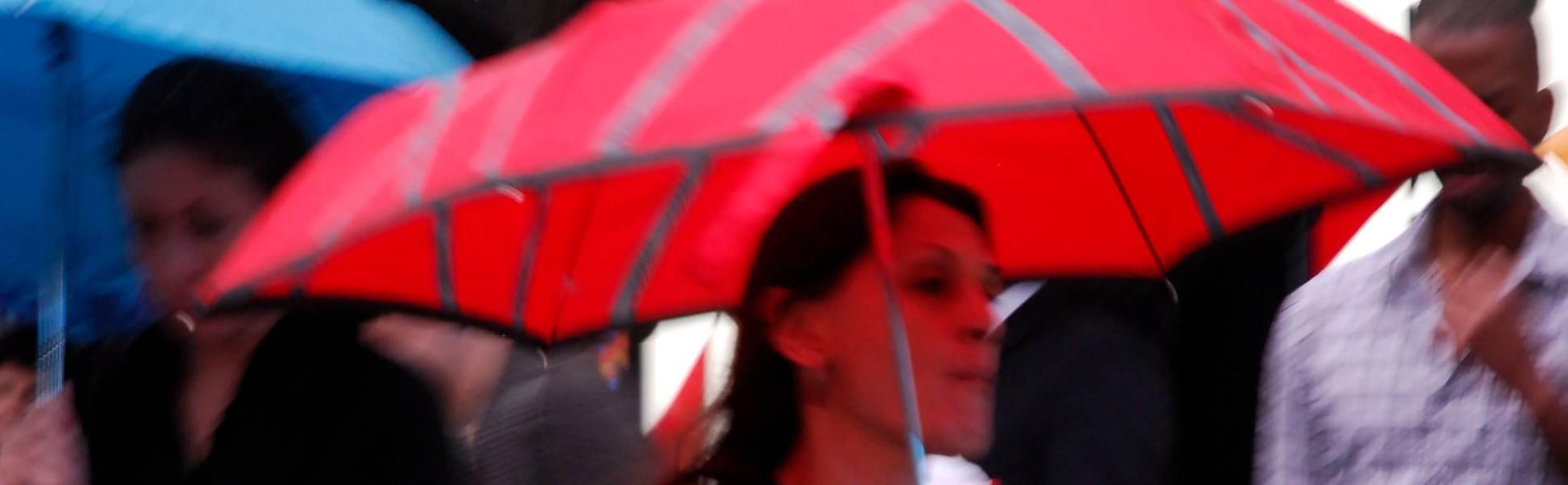 Una donna a New York con un ombrello cattura l'attenzione del fotografo