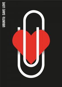 Cuore e graffetta nel poster di Armando Milani Ubuntu Save Love
